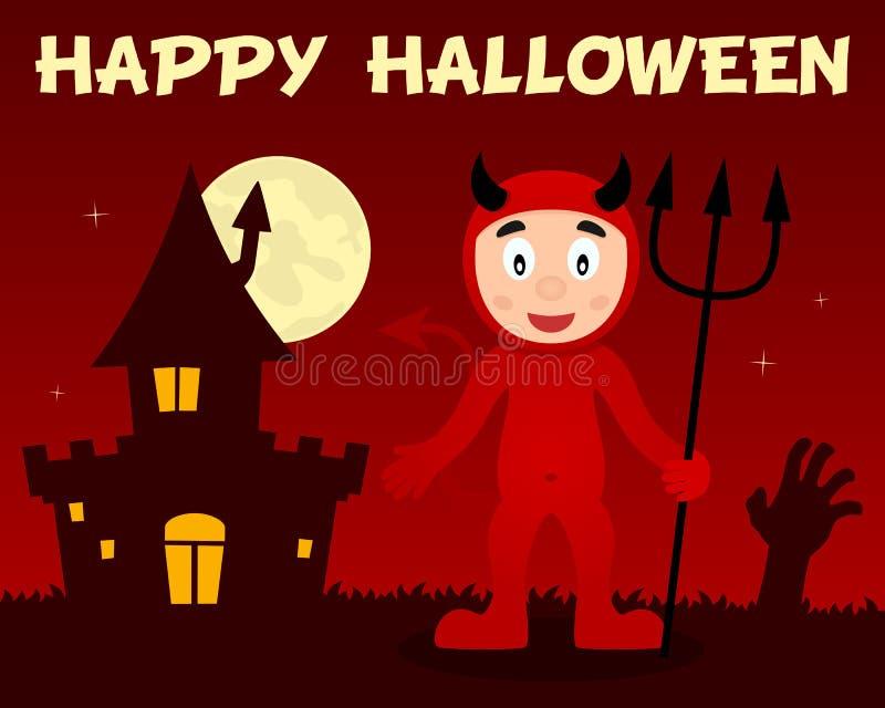 Diable rouge de Halloween et Chambre hantée illustration stock