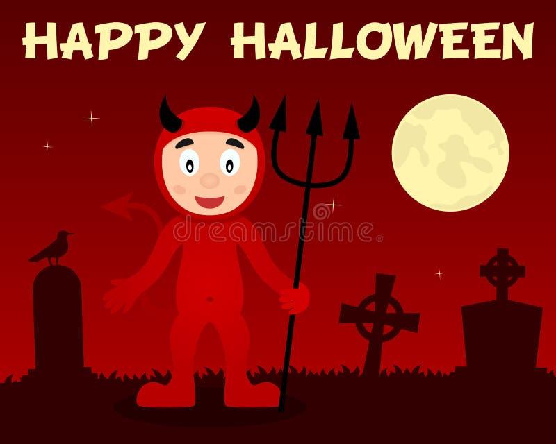 Diable rouge et cimetière heureux de Halloween illustration libre de droits