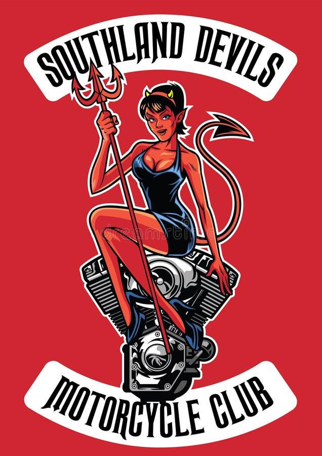 Diablo atractivo con el motor de la motocicleta ilustración del vector