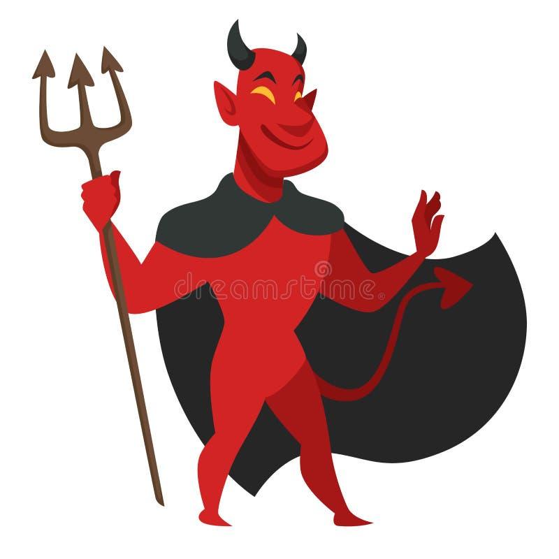 Diablo con el tridente en carácter malvado de la capa negra stock de ilustración