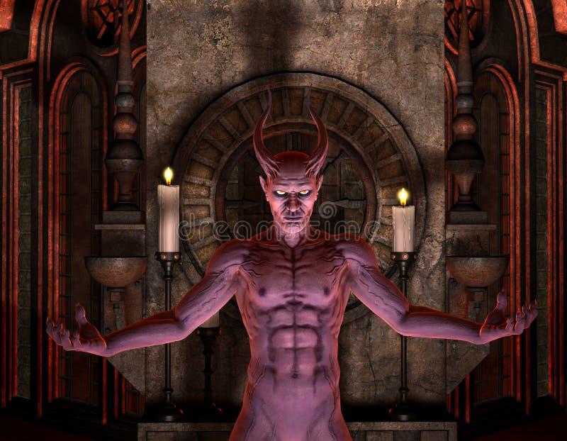 Diablo delante de una capilla oscura stock de ilustración