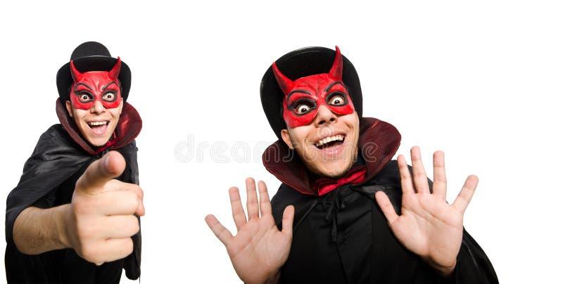 Diablo divertido aislado en el fondo blanco fotografía de archivo