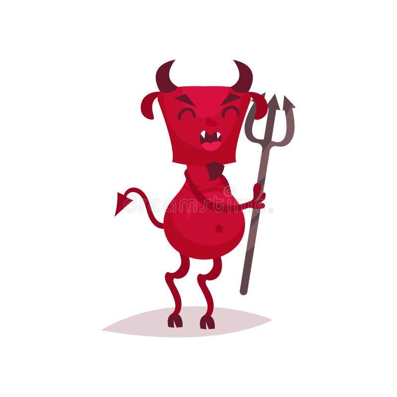 Diablo divertido con los cuernos y la cola que sostienen el tridente, ejemplo rojo del vector del personaje de dibujos animados d libre illustration