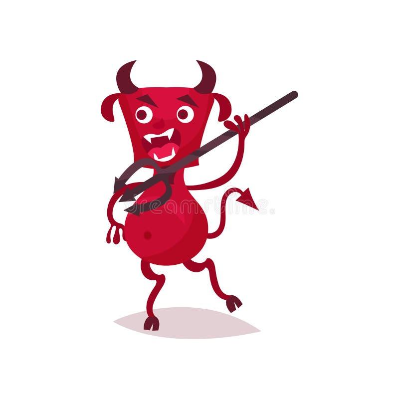 Diablo divertido furioso con los cuernos y la cola que corren con el tridente, ejemplo rojo del vector del personaje de dibujos a libre illustration
