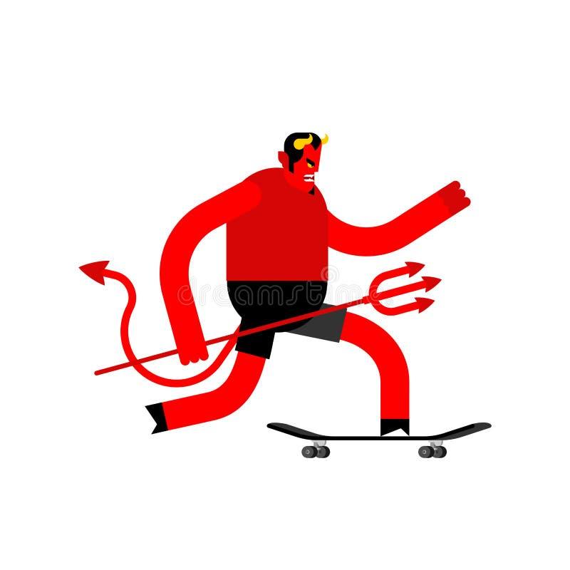Diablo en el monopatín Satanás en longboard Skater de Lucifer del demonio ilustración del vector