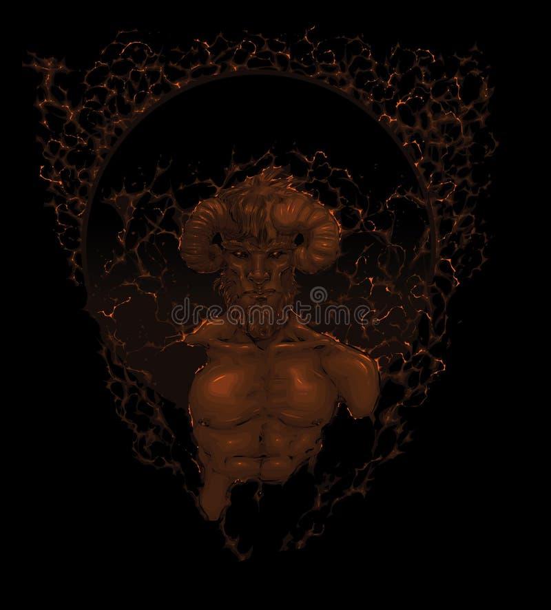 Diablo en la sombra. stock de ilustración