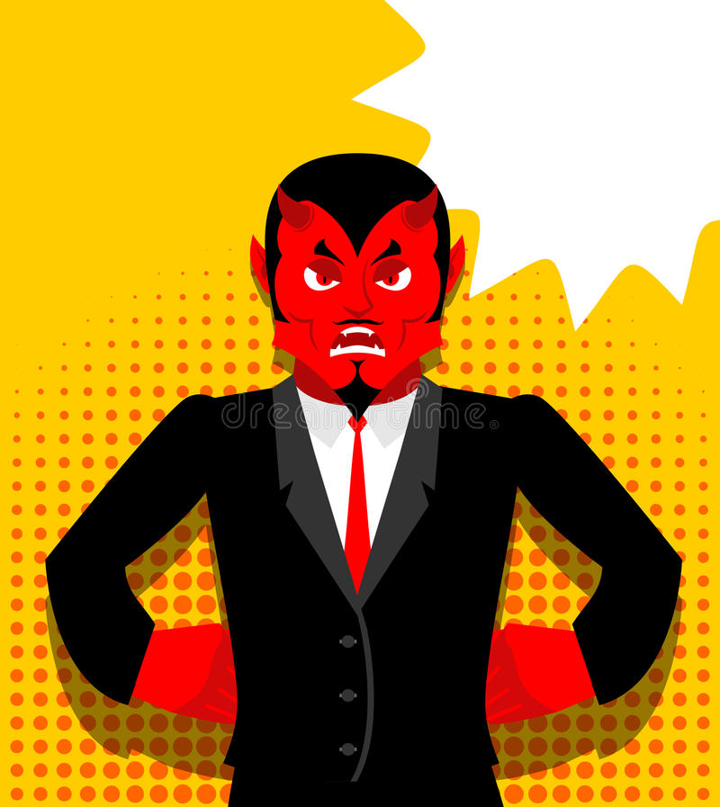 Diablo enojado Satanás no es feliz Demonio rojo enojado libre illustration