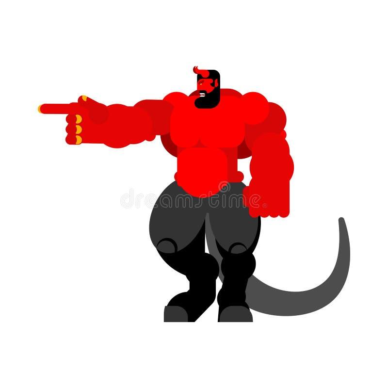 Diablo fuerte Demonio rojo grande Satanás de cuernos Vector enojado de Asmodeus libre illustration