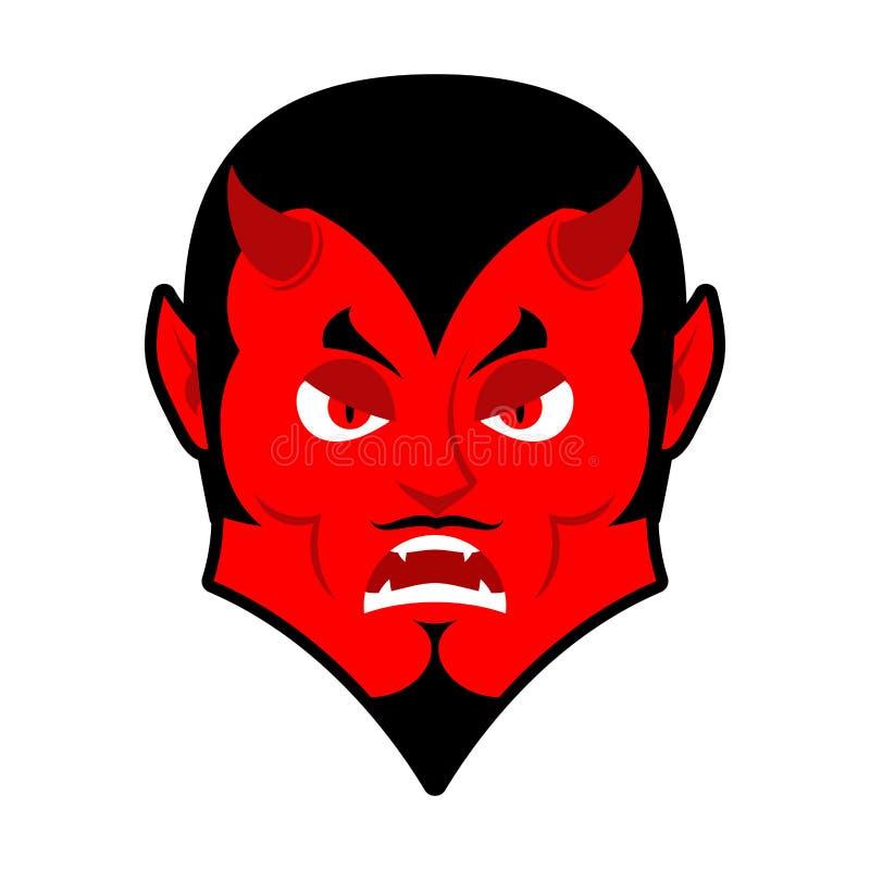 Diablo malvado Enojado por Satanás Demonio rojo furioso Lucifer enojado ilustración del vector