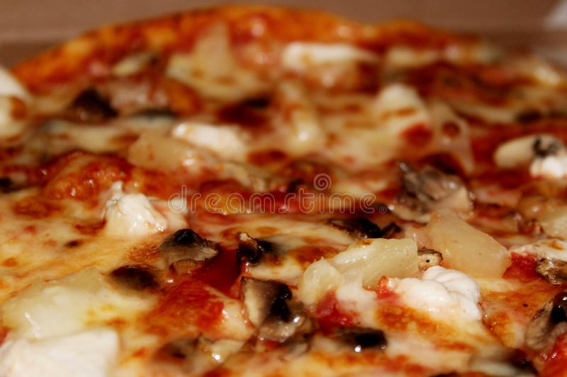 Diablo pizza with spicy sausage top view royalty free stock photos