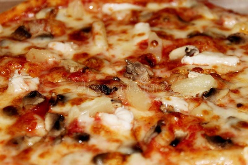 Diablo pizza with spicy sausage top view royalty free stock photography