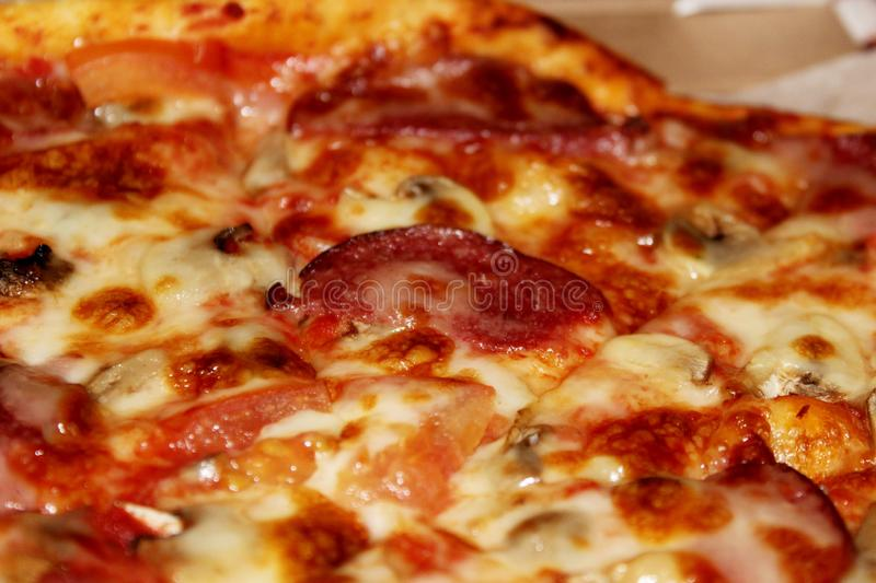 Diablo pizza with spicy sausage top view royalty free stock images