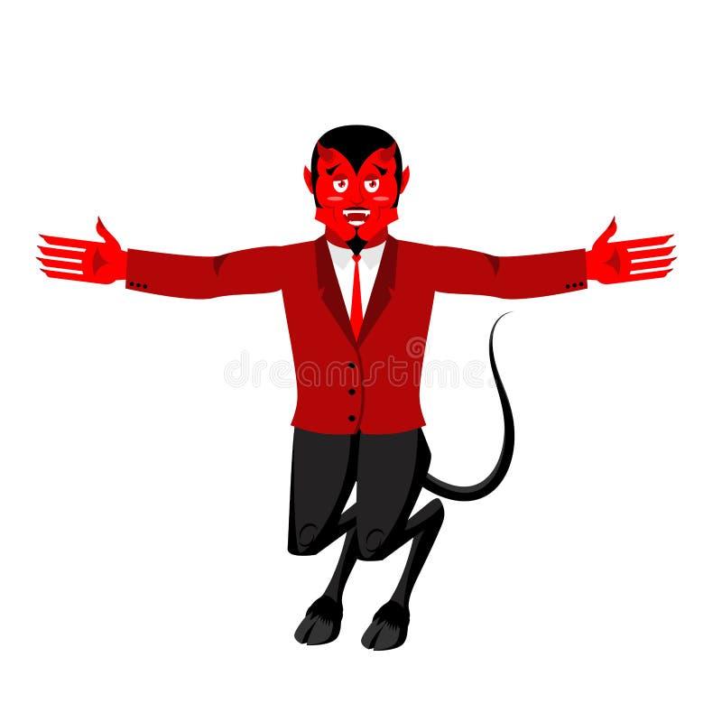 Diablo rojo Demonio divertido Satanás con los cuernos Mephistopheles astuto libre illustration