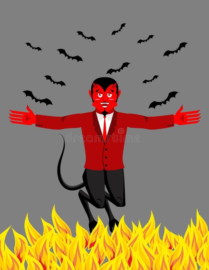 Diablo rojo en infierno Demonio y palo divertidos Satanás con los cuernos libre illustration