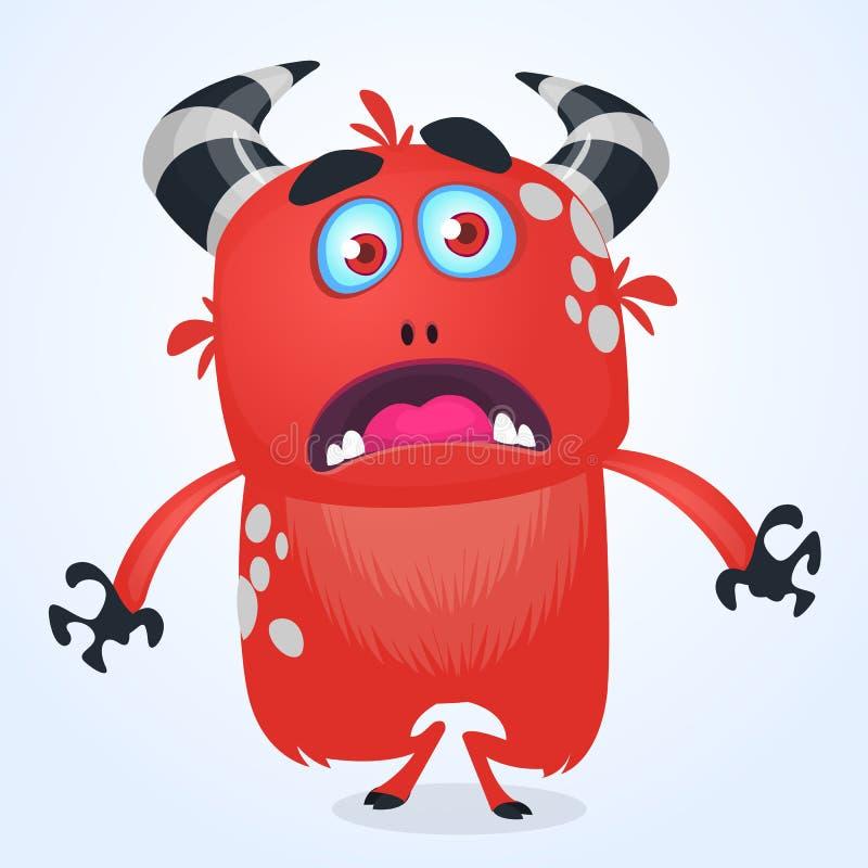 Diablo rojo enojado del monstruo de la historieta Ejemplo del vector del monstruo del grito para Halloween stock de ilustración