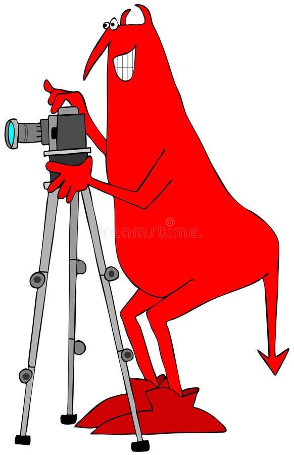 Diablo rojo que toma una fotografía stock de ilustración