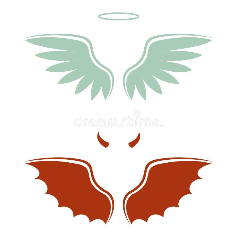 Diablo y ángel de la historieta, buena y mala opción, alas, cuernos y halo stock de ilustración