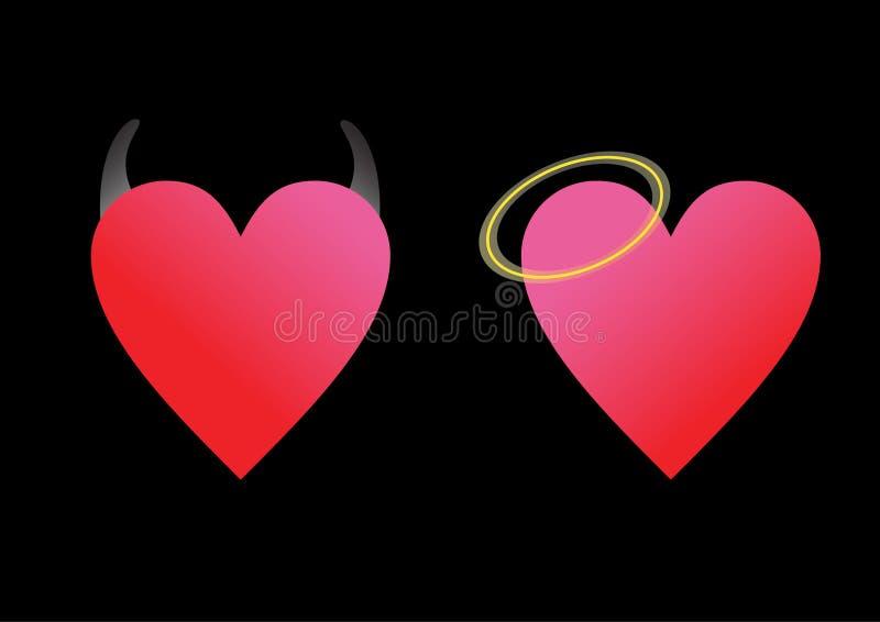 Diablo y ángel del corazón ilustración del vector