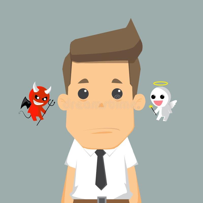 Diablo y ángel del hombro ilustración del vector