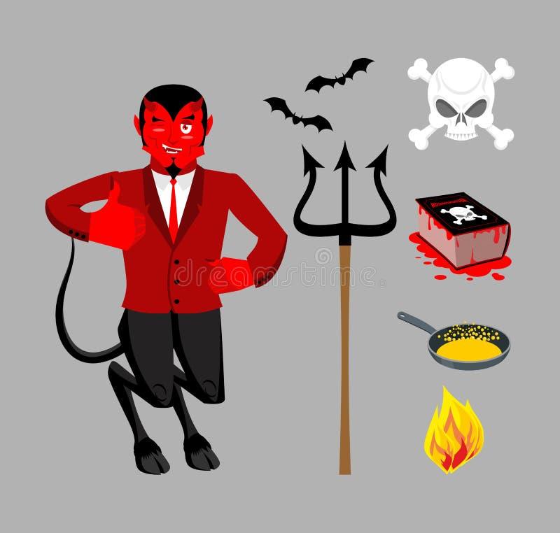 Diablo y accesorios Sistema satánico Trident y hellfire negro ilustración del vector