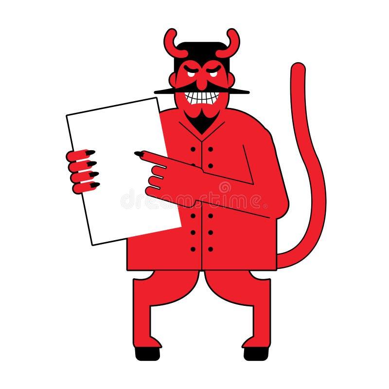 Diablo y contrato Trato asustadizo de las ofertas de Mephistopheles a la muestra i ilustración del vector