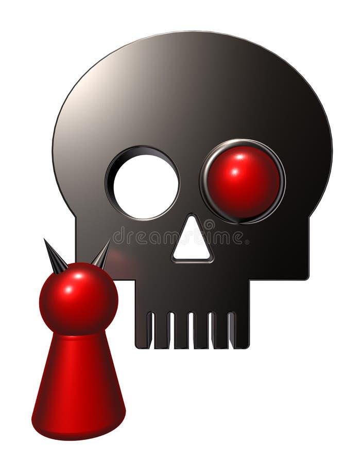 Diablo y cráneo stock de ilustración