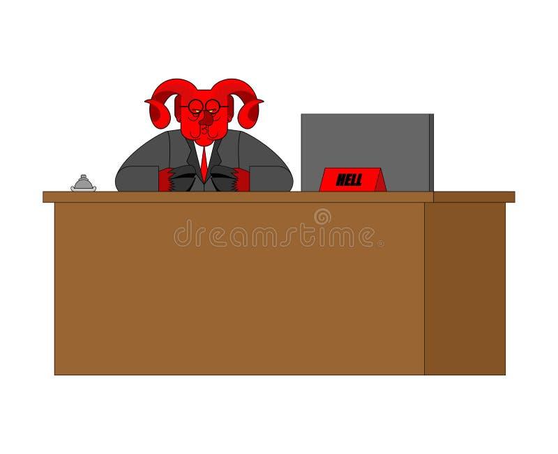 Diablo y estante de la recepción Aceptación de huéspedes en infierno sinners ilustración del vector