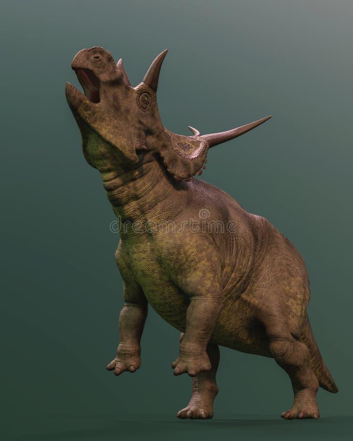 Diabloceratops sur le fond vert illustration de vecteur