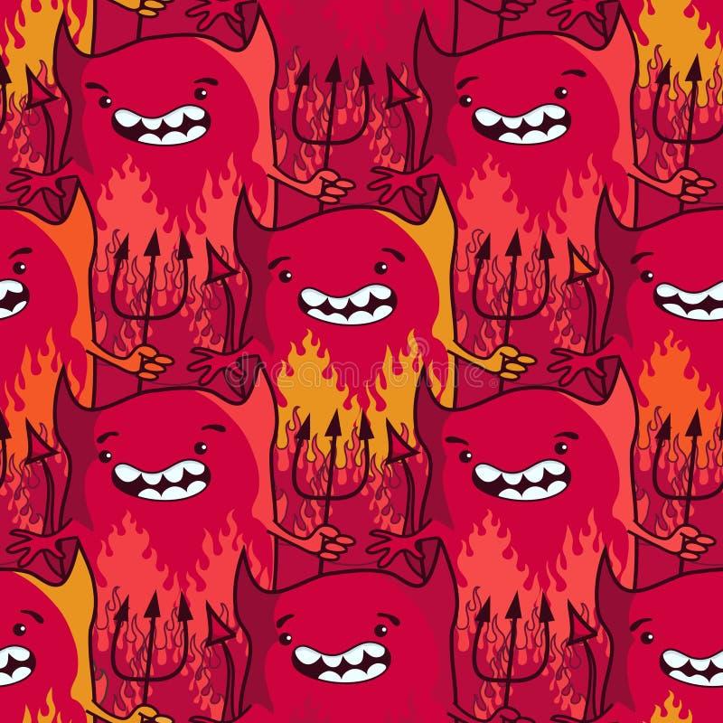 Diablos lindos - modelo inconsútil de la historieta ilustración del vector
