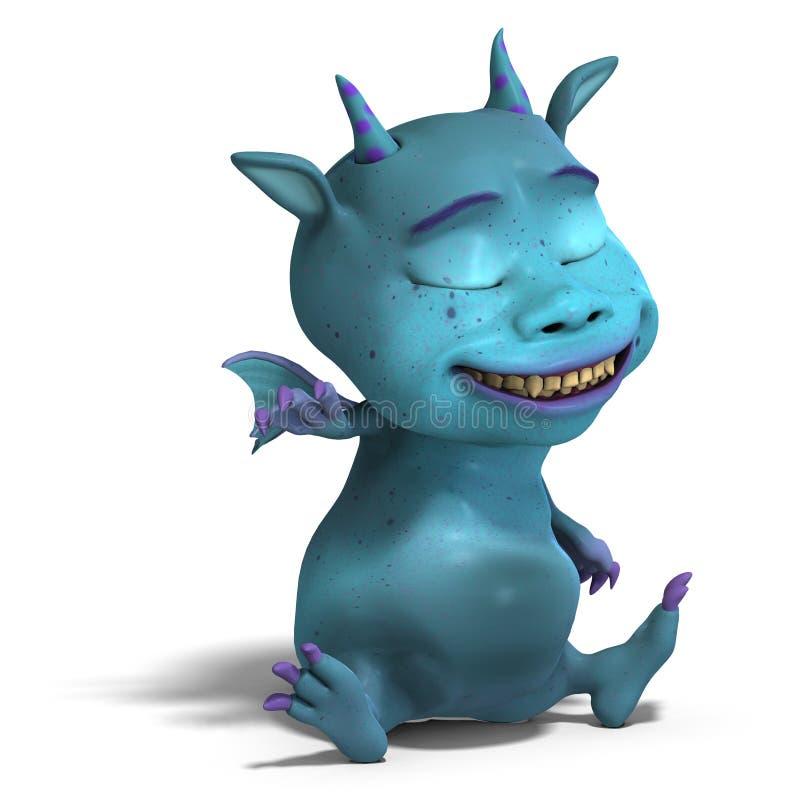 Diabo bonito azul pequeno do dragão de Toon ilustração stock
