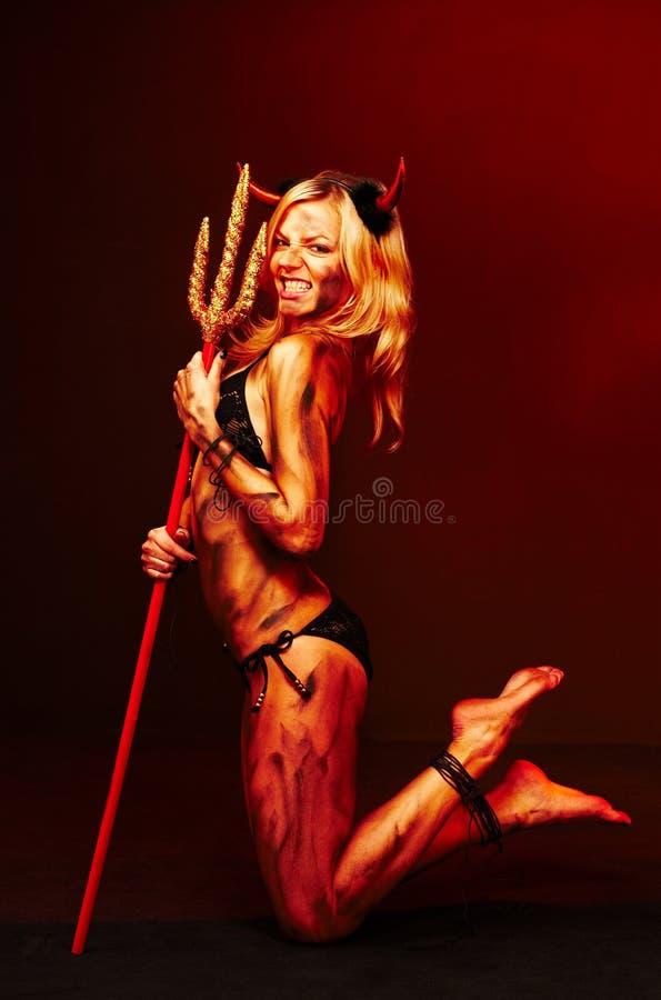 Diabo bonito com tridente - Halloween fotos de stock royalty free