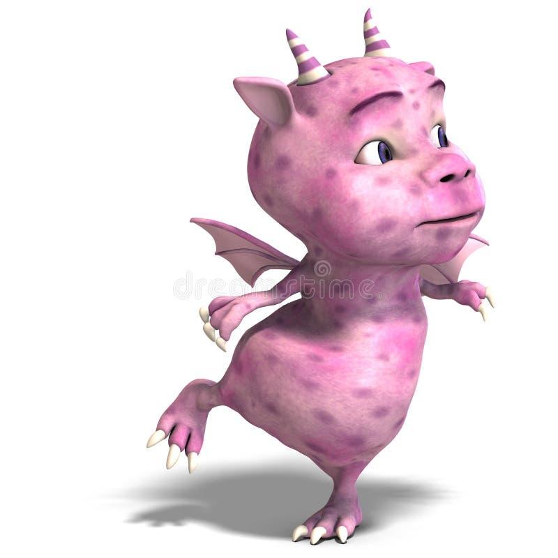 Diabo bonito cor-de-rosa pequeno do dragão de Toon ilustração stock