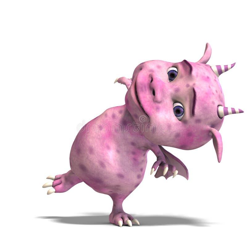 Diabo bonito cor-de-rosa pequeno do dragão de Toon ilustração do vetor