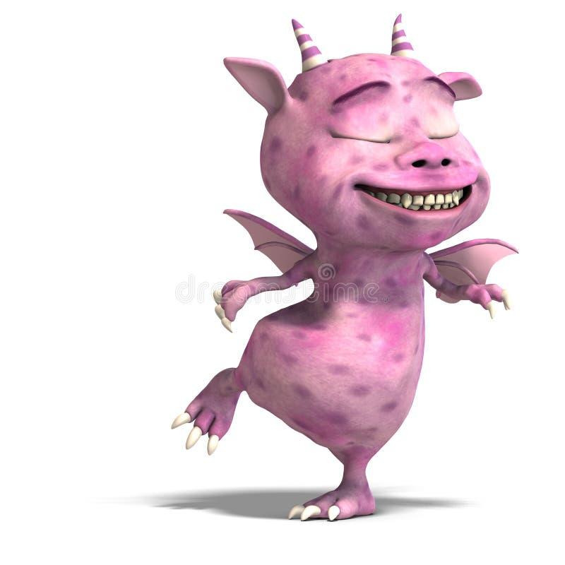 Diabo bonito cor-de-rosa pequeno do dragão de Toon ilustração royalty free