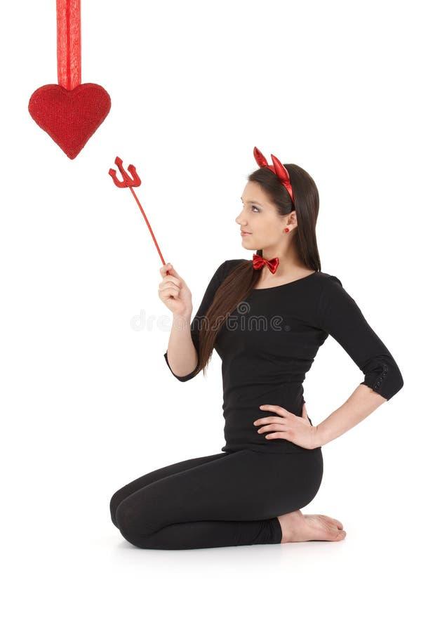 Diabo bonito no dia do Valentim imagens de stock