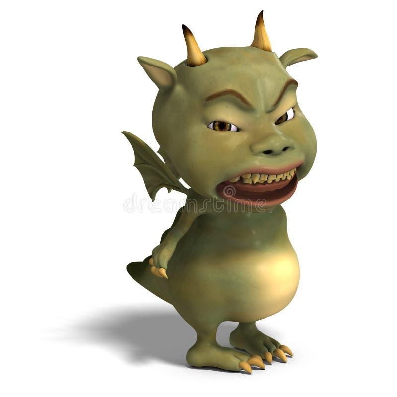 Diabo bonito verde pequeno do dragão de Toon ilustração stock