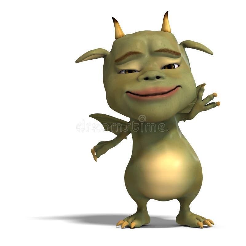 Diabo bonito verde pequeno do dragão de Toon ilustração royalty free