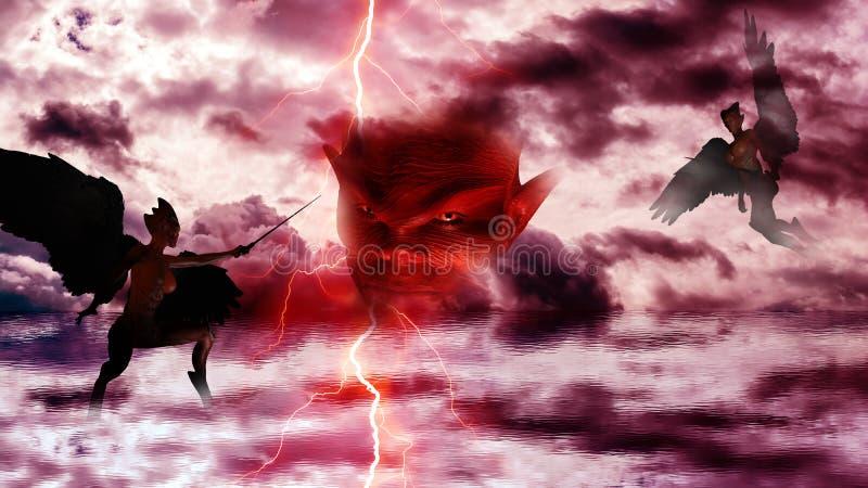 Diabo com os demônios no inferno O céu nubla-se a reflexão no mar ilustração stock