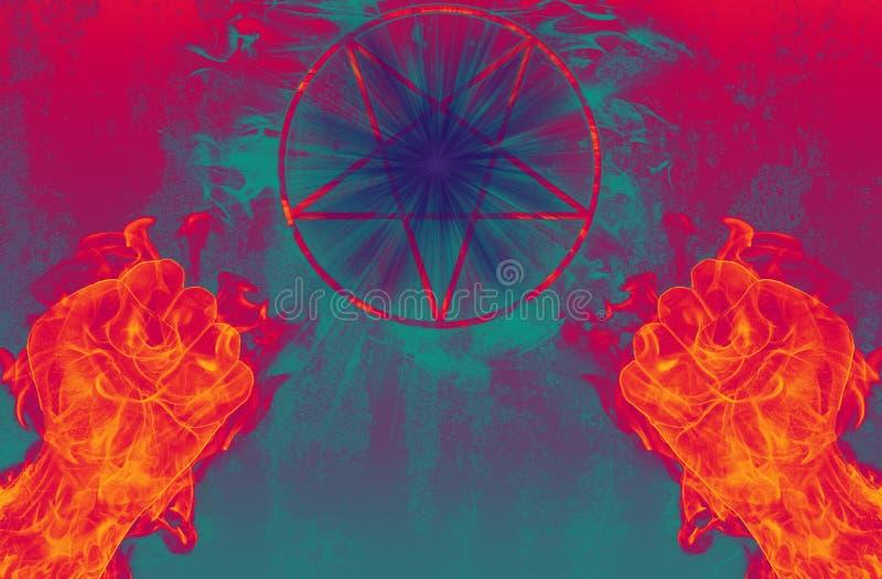 Diabo com pentagram ilustração do vetor