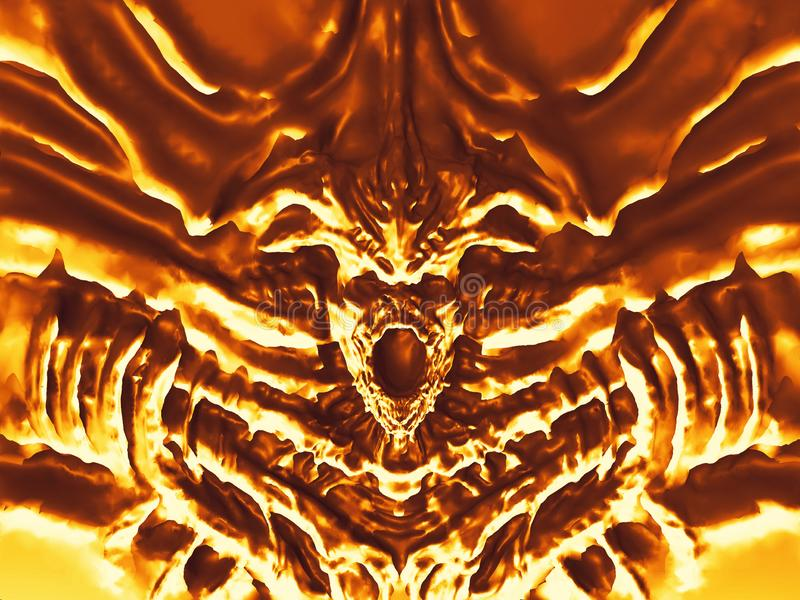 Diabo dourado do bas-relevo com chifres ilustração 3D ilustração do vetor