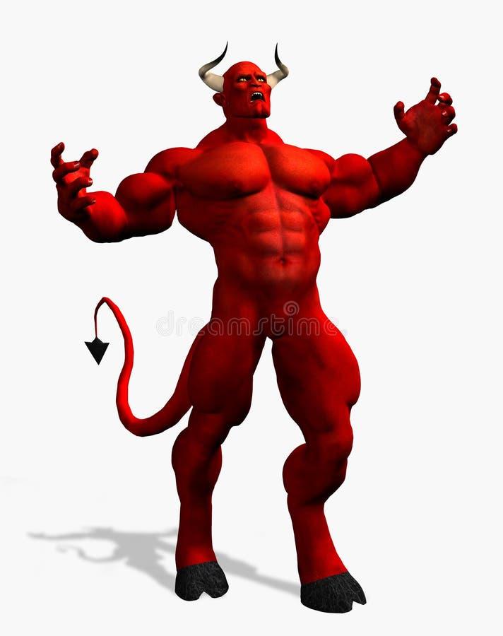 Diabo irritado - com trajeto de grampeamento ilustração stock