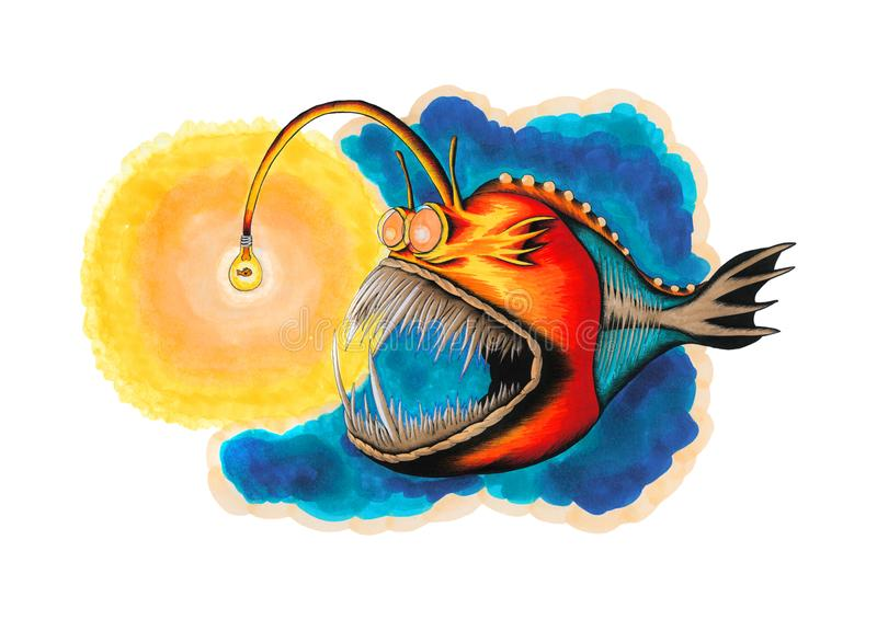 Diabo-marinho colorido com os peixes dourados dentro da luz de bulbo ilustração do vetor