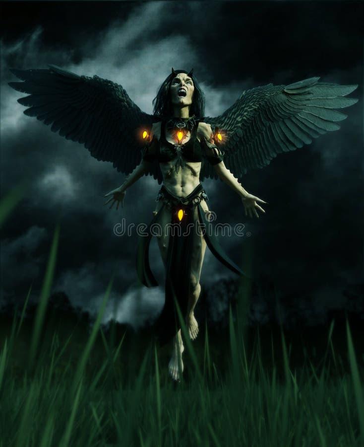 Diabo na floresta escura ilustração royalty free