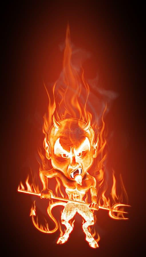 Diabo nas flamas ilustração royalty free