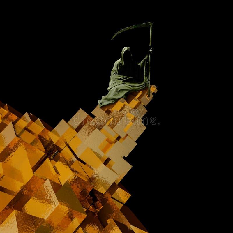 Diabo no cubo do ouro, conceito da ilustração do negócio inoperante rendição 3d ilustração stock