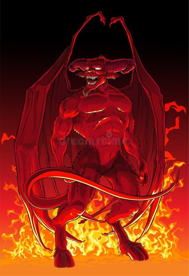 Diabo no fogo ilustração royalty free