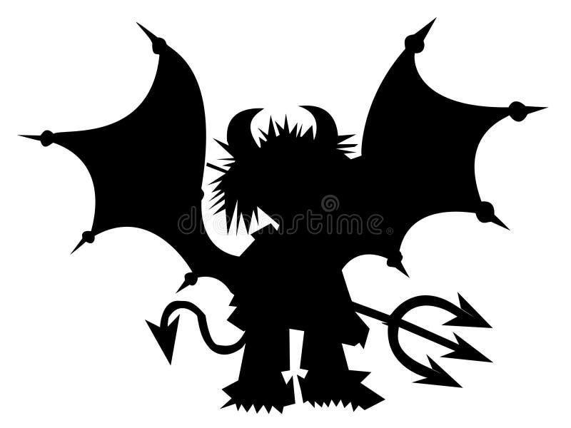 Diabo preto com tridente ilustração do vetor