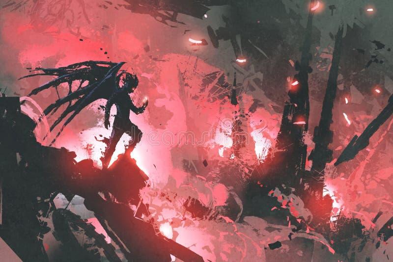 Diabo que está em ruínas da construção contra cidade ardente ilustração do vetor
