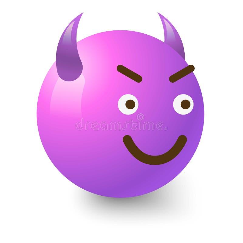 Diabolic smiley icon, cartoon style. Diabolic smiley icon. Cartoon illustration of diabolic smiley vector icon for web royalty free illustration