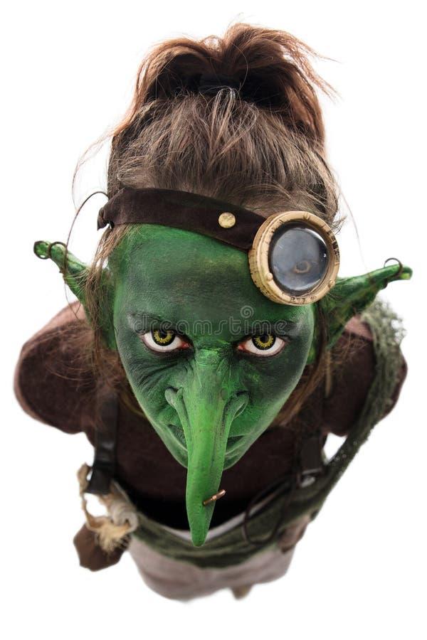 Diabrete verde com um nariz longo fotos de stock